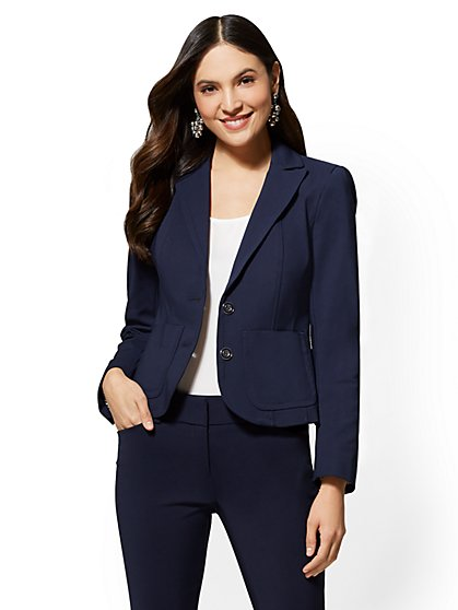 7th Avenue Tall Navy Blue Two-Button Jacket - All-Season Stretch - Topstitched - New York & Company