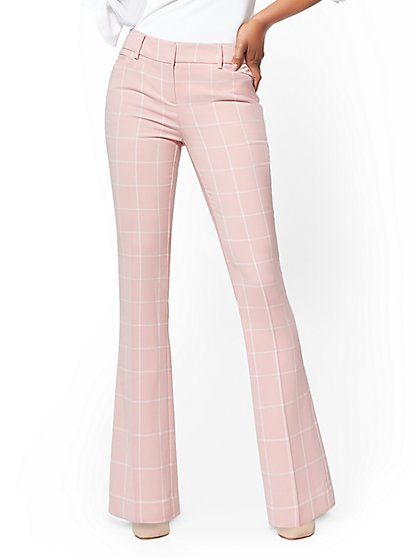 7th Avenue Tall Pant - Bootcut - Modern - Pink Plaid - New York & Company