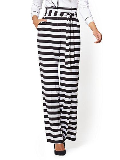 7th Avenue Tall Pant - Paperbag-Waist Palazzo - Black & White Stripe - New York & Company