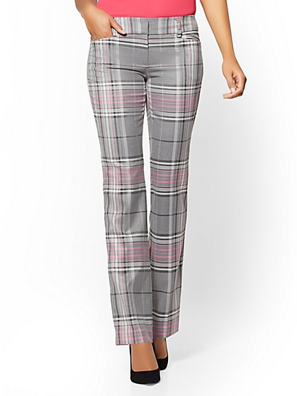 7th Avenue Tall Pant - Straight Leg - Signature - Grey Plaid - New York & Company