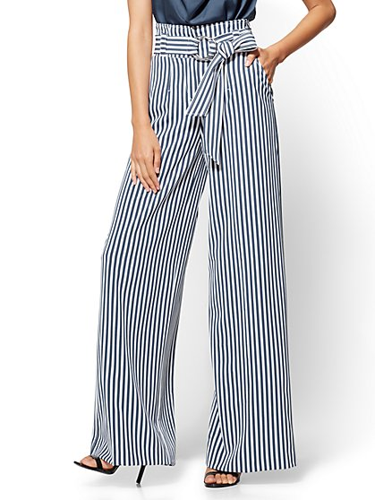 7th Avenue Tall Pant - Striped Paperbag-Waist Palazzo - New York & Company