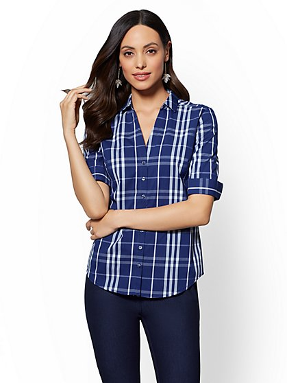 7th Avenue - Tall Plaid Elbow-Sleeve Madison Stretch Shirt - New York & Company