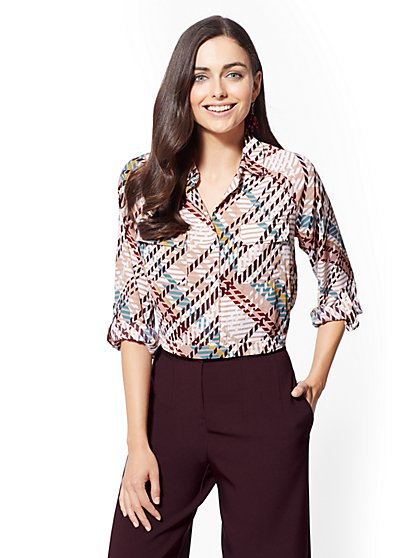 7th Avenue - Tall Print Crop Shirt - New York & Company