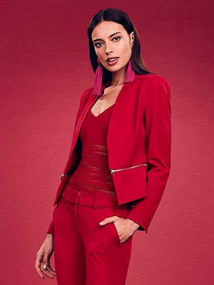 7th Avenue Tall Red Zip-Waist Jacket - New York & Company