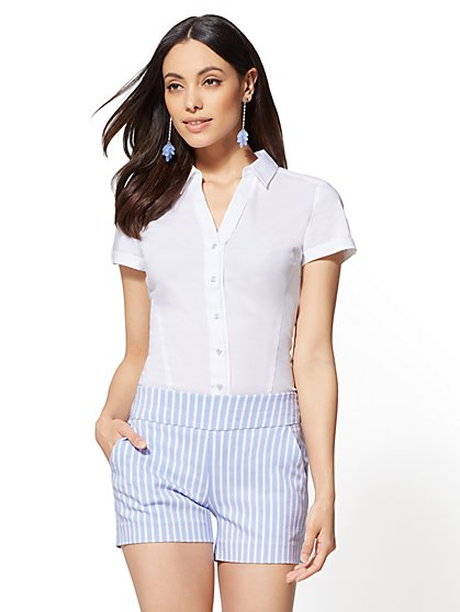 7th Avenue - Tall Short-Sleeve Madison Stretch Shirt - New York & Company