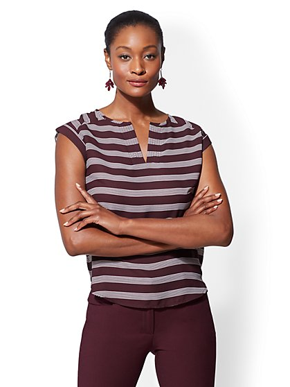 7th Avenue - Tall Stripe Split-Neck Tee - New York & Company