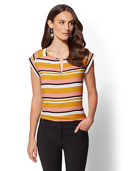 7th Avenue - Tall Stripe Split-Neck Top - New York & Company