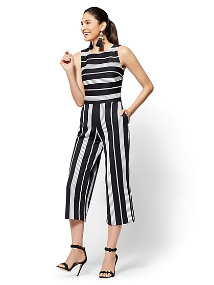 7th Avenue - Tall Striped Culotte Jumpsuit - New York & Company