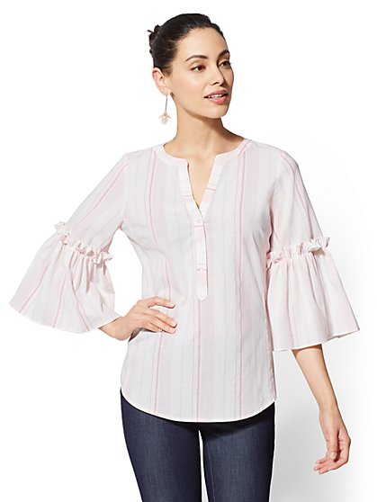 7th Avenue - Tall Striped Ruffled Popover Shirt - New York & Company