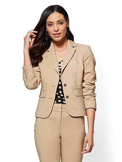 7th Avenue - Tall Topstitched Two-Button Jacket - New York & Company