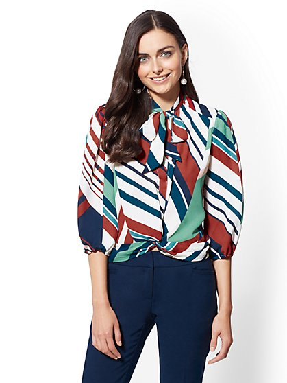 7th Avenue - Tall Twist-Front Tie-Neck Blouse - New York & Company
