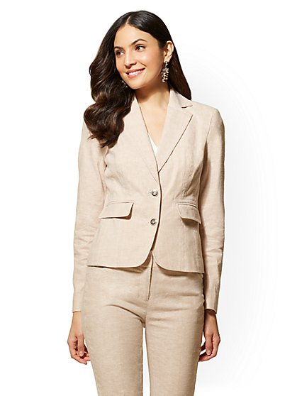 7th Avenue - Tan Two-Button Jacket – City Stretch Linen Flex - New York & Company