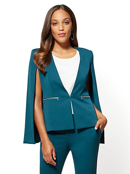 7th Avenue Teal Cape Jacket - New York & Company