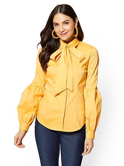 7th Avenue - Tie-Detail Statement-Sleeve Shirt - New York & Company