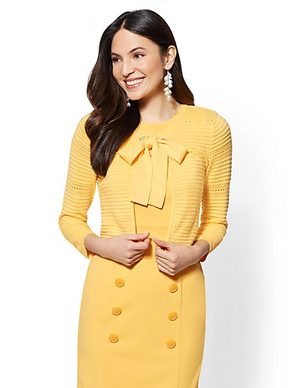7th Avenue - Tie Front Dress Cardigan - New York & Company
