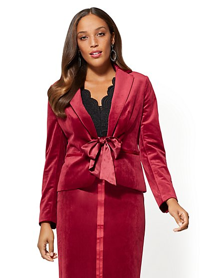 7th Avenue - Tie-Front Velvet Jacket - New York & Company