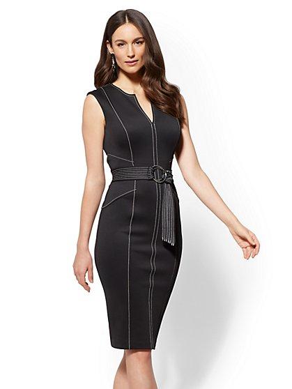 7th Avenue - Topstitched Sheath Dress - New York & Company