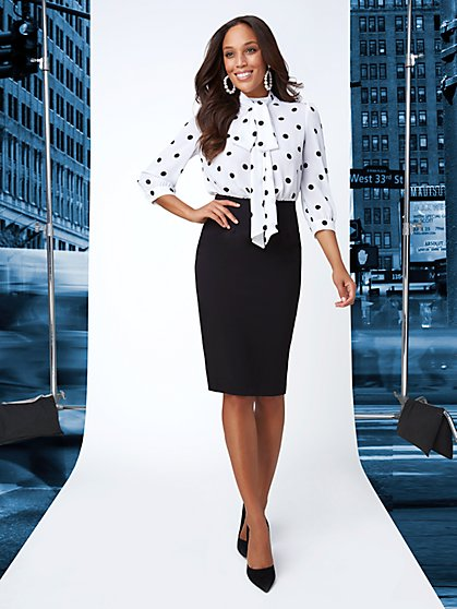 7th Avenue - Twofer Bow Blouse Sheath Dress - New York & Company