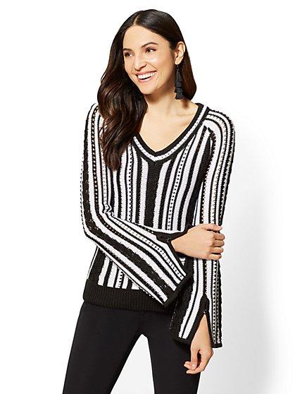 7th Avenue - V-Neck Sweater - Black & White Stripe - New York & Company