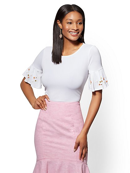 7th Avenue - White Embellished Scoopneck Top - New York & Company