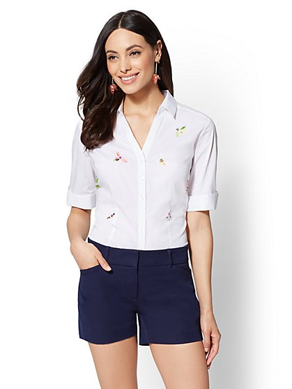 7th Avenue - White Jeweled Madison Stretch Shirt - New York & Company