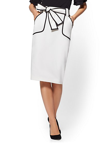 7th Avenue - White Piped Pencil Skirt - New York & Company