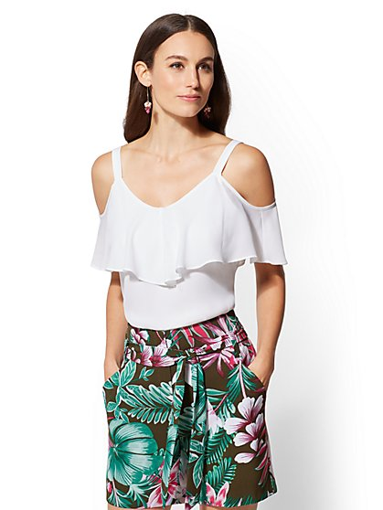 7th Avenue - White Tiered Cold-Shoulder Blouse - New York & Company