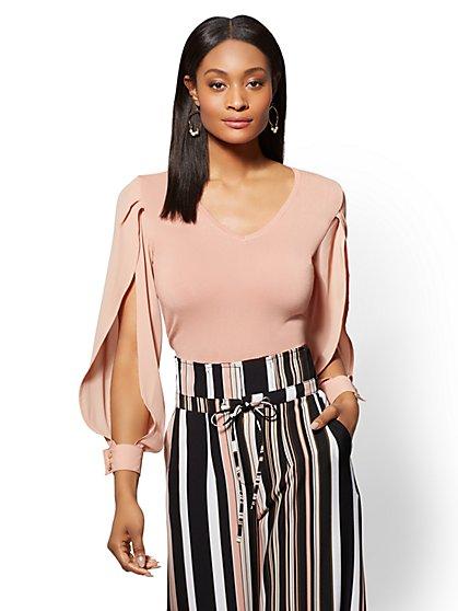 7th Avenue - Woven-Sleeve V-Neck Sweater - New York & Company