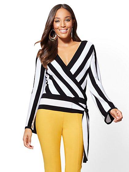 7th Avenue - Wrap Sweater - Black-and-White Stripe - New York & Company