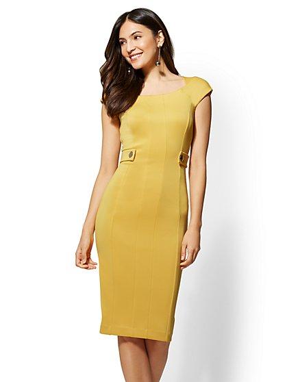 7th Avenue - Yellow Bateau-Neck Sheath Dress - New York & Company