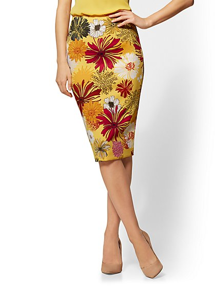 7th Avenue - Yellow Floral Pull-On Pencil Skirt - New York & Company