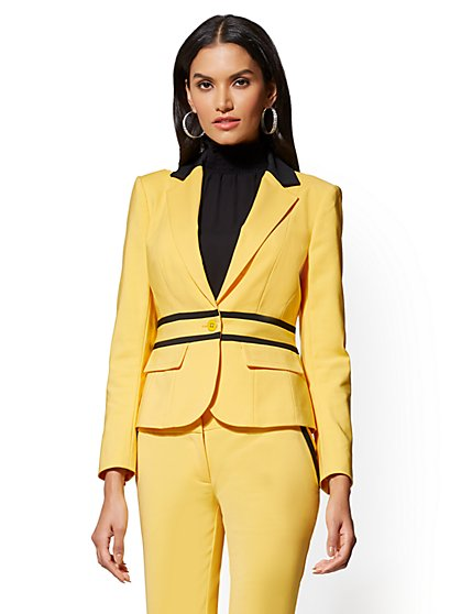 7th Avenue Yellow One-Button-Jacket - Modern - All-Season Stretch - New York & Company