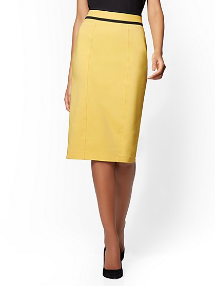 7th Avenue Yellow Piped Pencil Skirt - All-Season Stretch - New York & Company