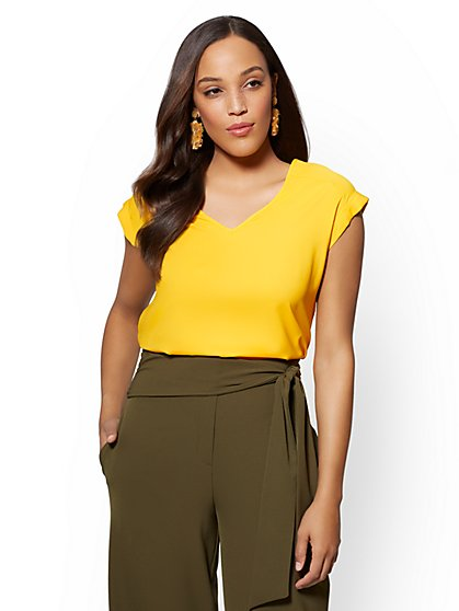 7th Avenue - Yellow V-Neck Top - New York & Company