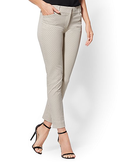 Audrey Ankle Pant - Tan Dot Print - New York & Company