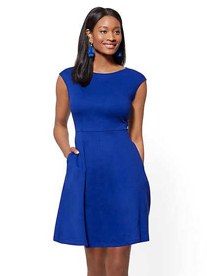Bateau-Neck Cotton Fit and Flare Dress - New York & Company