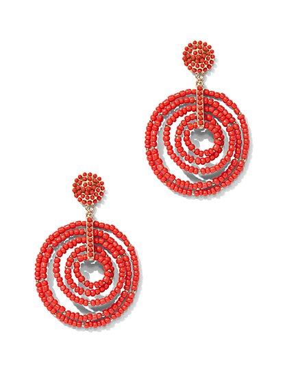 Beaded Circular Drop Earring - New York & Company