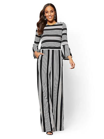 Bell-Sleeve Jumpsuit - Black & White Stripe - New York & Company
