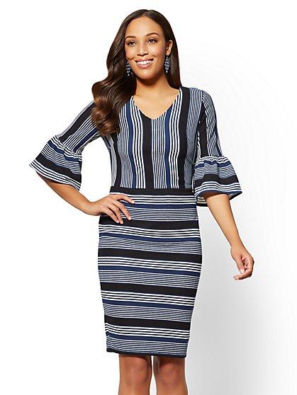Bell-Sleeve Sheath Dress - Stripe - New York & Company