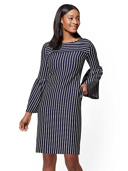 Bell-Sleeve Shift Dress - Stripe - New York & Company