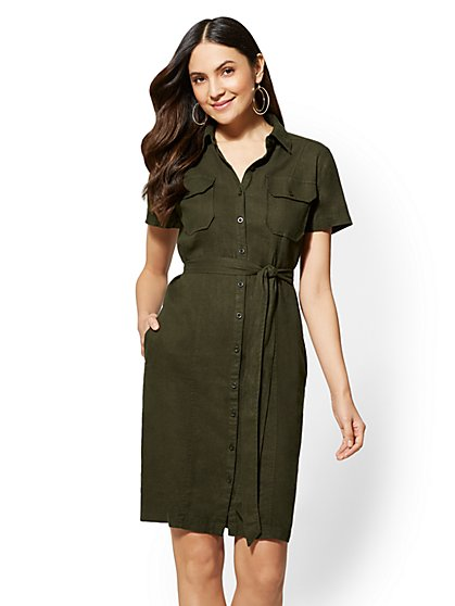 Belted Linen Shirtdress - New York & Company