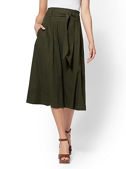 Belted Linen Skirt - New York & Company