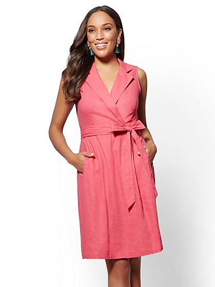 Belted Linen Wrap Shirtdress - New York & Company