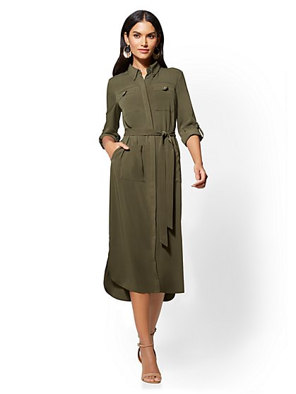 Belted Midi Shirtdress - New York & Company