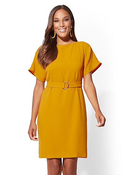 Belted Short-Sleeve Dress - New York & Company