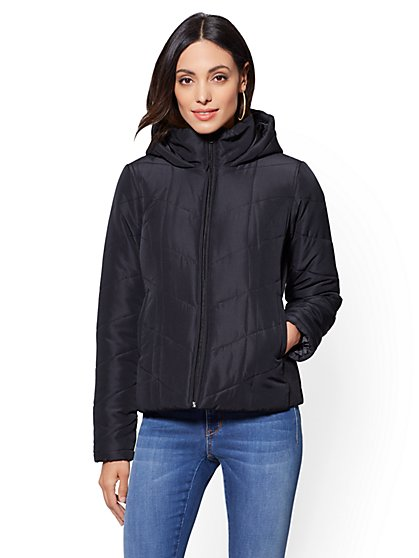 Black Chevron-Quilted Hooded Jacket - New York & Company
