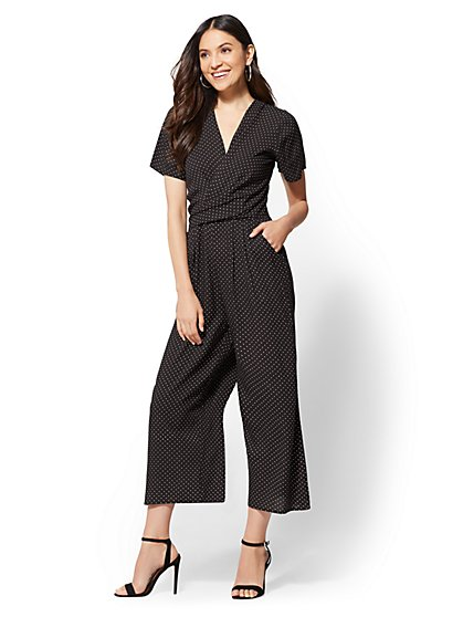 Black Dot-Print Twist-Front Jumpsuit - New York & Company