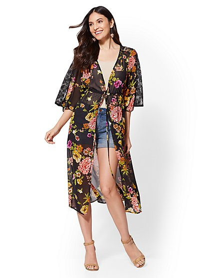 Black Floral Lace Kimono Jacket - New York & Company
