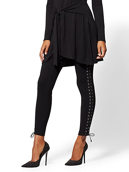 Black Lace-Up Knit Legging - New York & Company