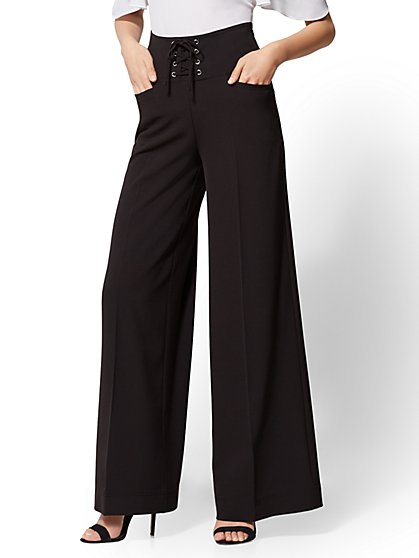 Black Lace-Up Palazzo Pant - New York & Company